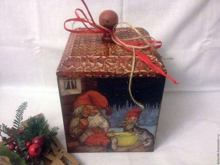 """Купить Короб для хранения """" Дом Гнома"""" - коричневый, Новый Год, дом, домашний уют"""