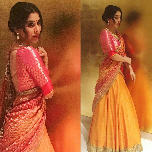 golden pink, deep pink blouse border, golden yellow skirt (Manish Malhotra)