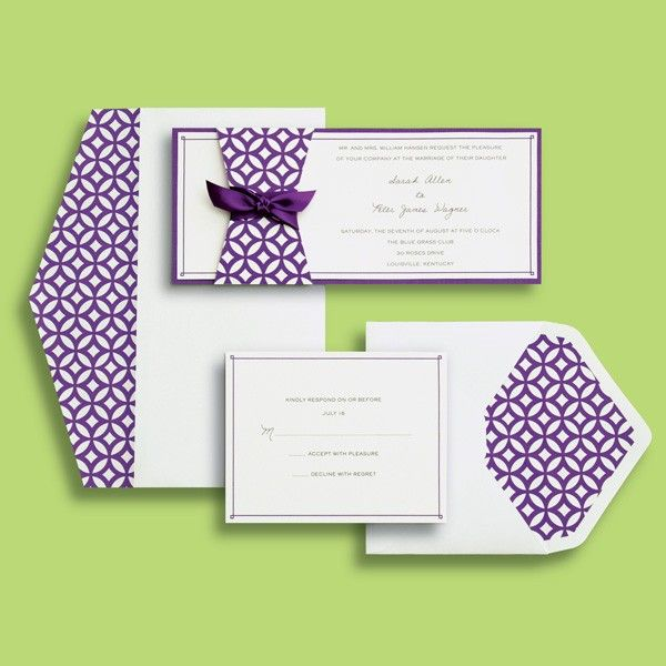 BRIDES® Skinny Modern Purple Invite Kit  Gartner Studios