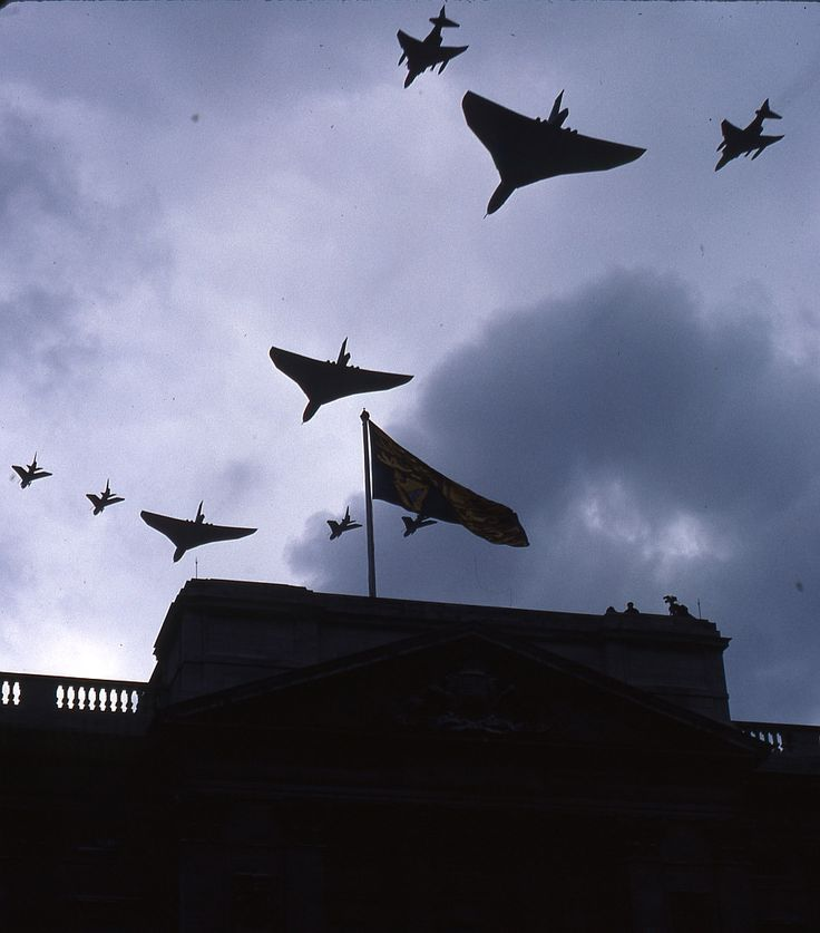RAF Vulcans, Phantoms and Lightnings, Buckingham Palace Flypast, June 1980.