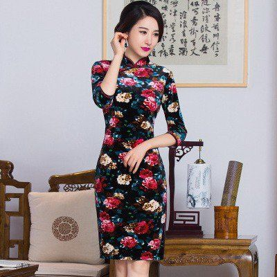 Elegant Pleuche Reformed Cheongsam Mini Floral Dress - iDreamMart.com