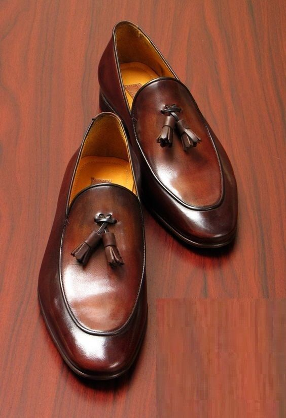 Handmade Men Brown Leather Tassels Shoes Moccasins, Men Formal Dress Shoes - Casual