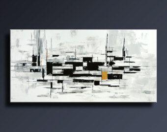 ORIGINELE ABSTRACT schilderij zwart wit geel grijs blauw