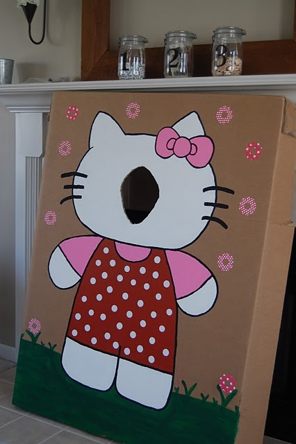 Hello Kitty DIY bean bag throw (I might draw the face & leave holes at the hands & feet?)