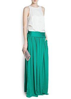MANGO - PRENDAS - Faldas - Falda larga fajín