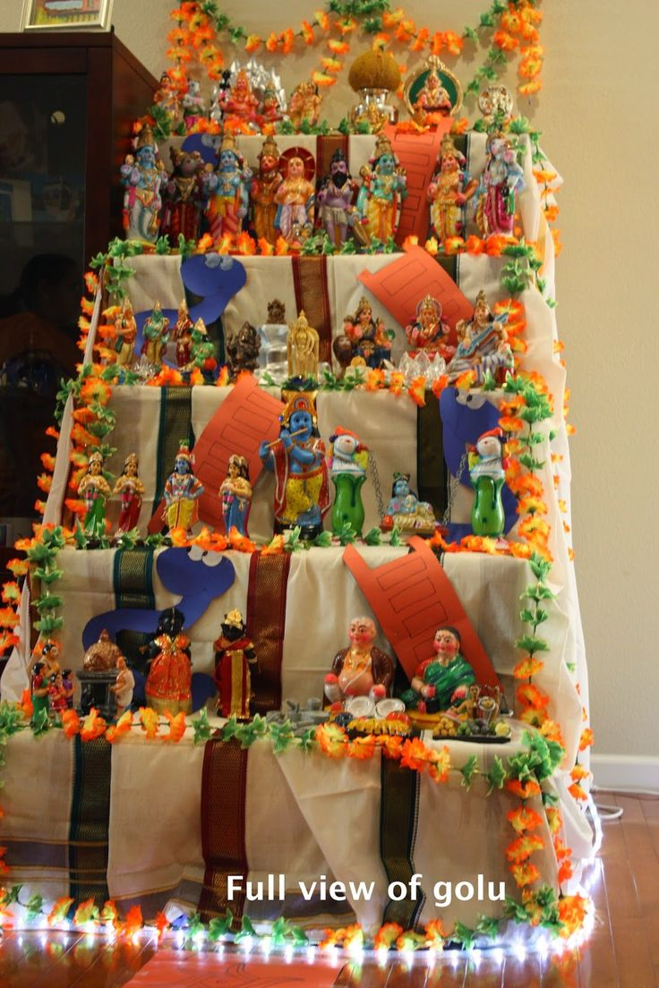Full view of golu - snake and ladder theme decorations
