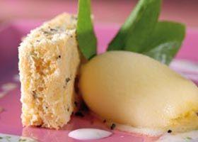 Biscuit van groene thee, sorbet van passievrucht en karamel van citrusvruchten met pepermunt
