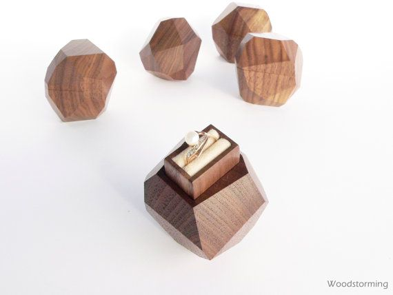 Wood ring box engagement ring box proposal ring by Woodstorming