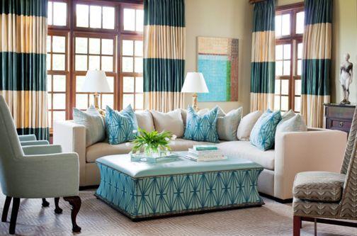 Des rideaux rayés: idée déco à faire soi même ou pas! - Rideaux rayés turquoises. Stripped curtains