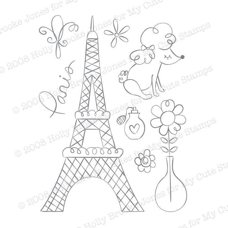 My Cute Stamps Paris Drawings Pinterest