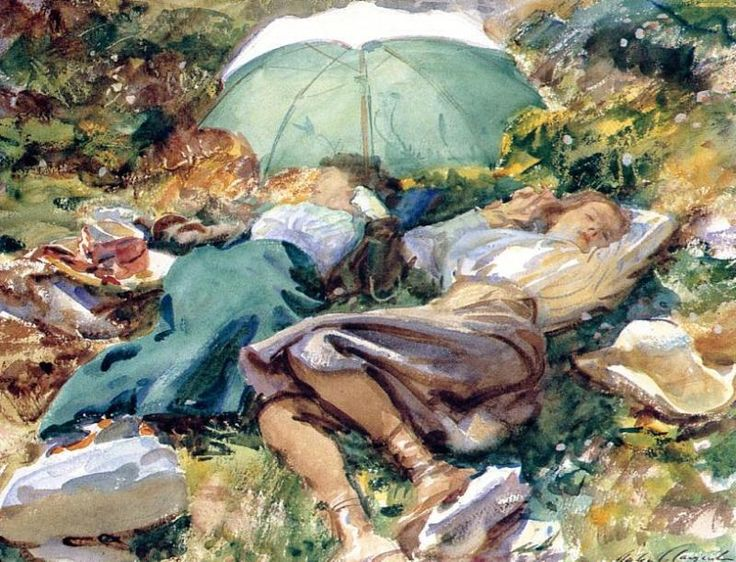 Siesta  1907  by John Singer Sargent      Watercolor on paper 16 x 21 inches (40.64 x 53.34 cm)