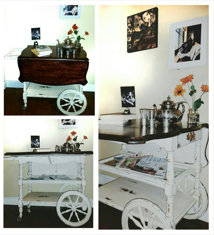 Hand Painted Vintage Tea Cart/Bar Cart w/Removable Glas Tray  Painted in Annie Sloan white/dark wax accents. One drawer & a removable tray. Both leaves lift for additional space. A perfect serving piece! Distressed/Sealed with poly. Original knob.  This Antique tea cart given a fresh new look. Hand painted white so it can go with any decor or color. It's been distressed to show the beautiful dark wood underneath.  Available for custom work like me on FB as moonsouk.