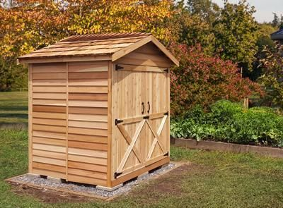 Cedarshed's Thanksgiving Day Mini Sheds for Sale! Our 8x8 wood storage shed kit is great for accommodating large items.