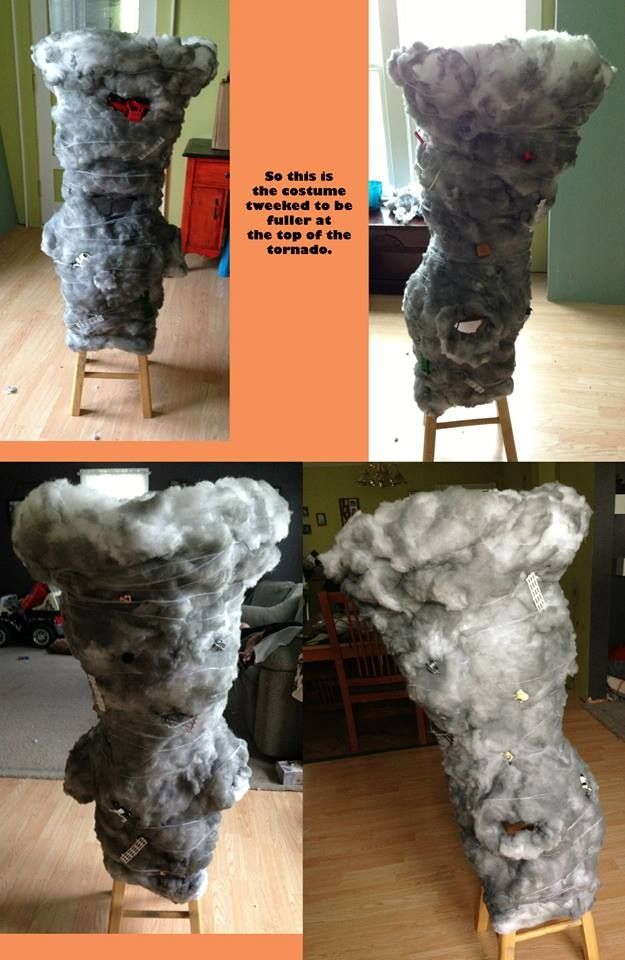 DIY: kids tornado costume, go to.....  http://boyz-will-b-boyz.tumblr.com  For all the images and instructions to go with it.