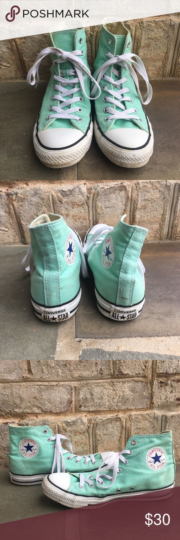 Teal Converse High Top Sneakers High Top Green Converse  ⁃Women's size: 9 ⁃Condition: Excellent Used condition, Mild signs of wear and tear, only worn a few times ⁃Tags: High Top, Green, Converse, light 📦📫Same to Next Day Shipping! ✖️Don't like the Price? Make an Offer!  ❓Have a Question? Ask!  🍁Bundle & Save! Add item(s) to a bundle for a private offer! 🍁 Converse Shoes Sneakers