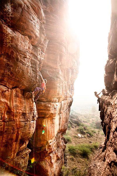 Climbing in beautiful light.