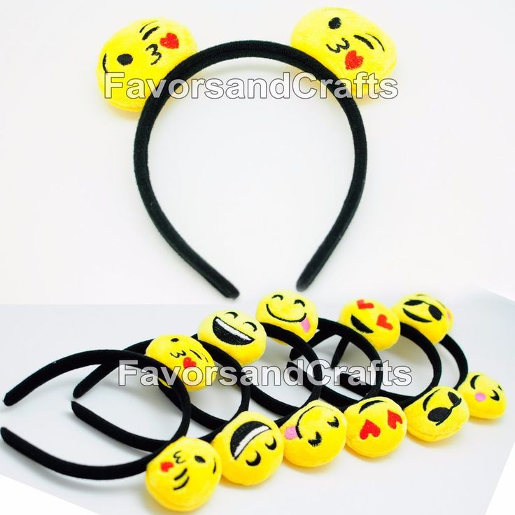 12 Emoji Headbands Emotion Ears Emoticon Happy Face Party Favors Hat Supplies | eBay
