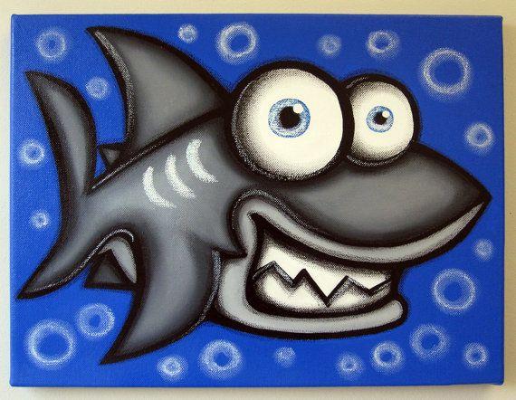 Tiburón - 12 x 16 acrílico original pintura en lienzo para habitaciones de niños, vivero arte, pinturas de peces