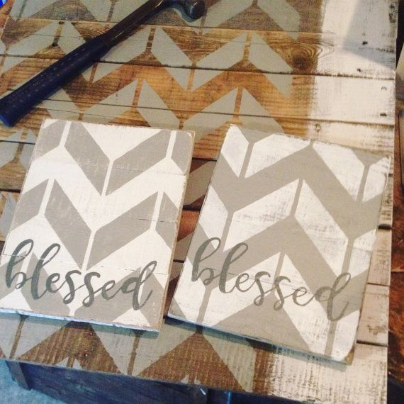 Blessed chevron rustic pallet wood sign grey and white