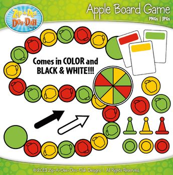 Apple Build A Board Game Clip Art Set — Over 20 Colorful Graphics