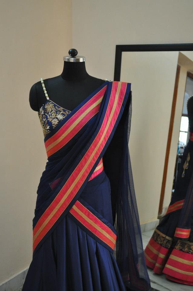 navy blue half saree!!