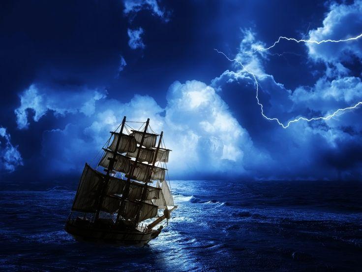 Sailing ship storm wallpaper
