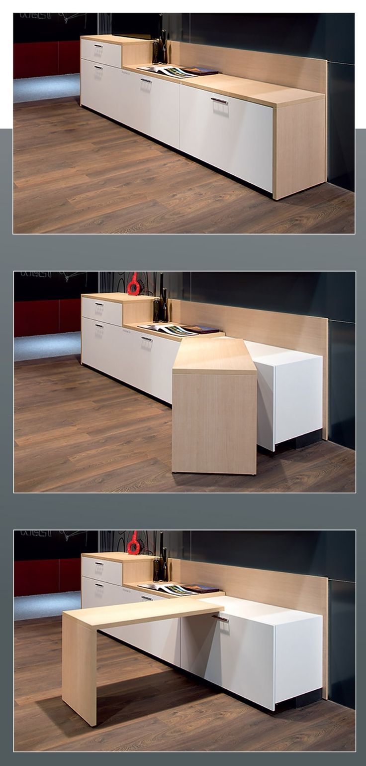 This table pivots out for a dining surface, or stays put to extend the countertop. Website in French. | Tiny Homes