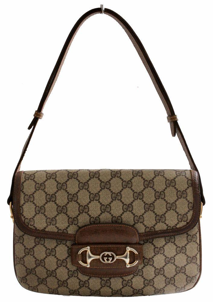 ba891de95 Gucci Shoulder Bag GG Canvas Brown Leather Trim with Horse Bit Flap 1970s  Rare  Gucci  ShoulderBag