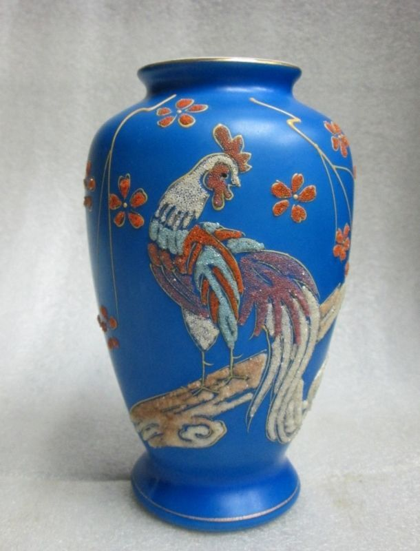 NIPPON CORALENE STYLE ONAGADORI COCK LONG TAIL ROOSTER VASE SIGNED MADE IN JAPAN