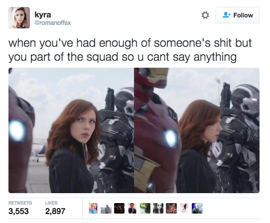 This perfect description of Black Widow's facial expression. | 21 Marvel Jokes That Are Just Too Damn Funny