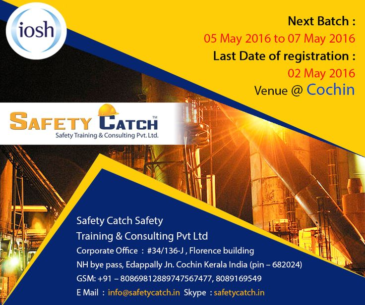 Hurry!!! TODAY IS THE LAST DAY! For Online Registration: http://bit.ly/1rO8VEz Contact us for Details: http://bit.ly/1nSPybO ~www.safetycatch.in #Safetytraining #IOSH #SafetytrainingIndia #SafetyTraininigCourses