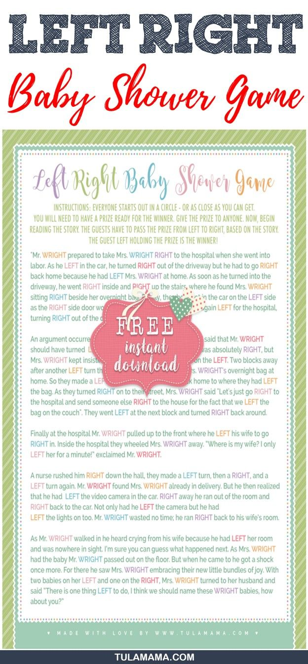 The Left Right Baby Shower Game Rocks Best Of Tulamama Pinterest