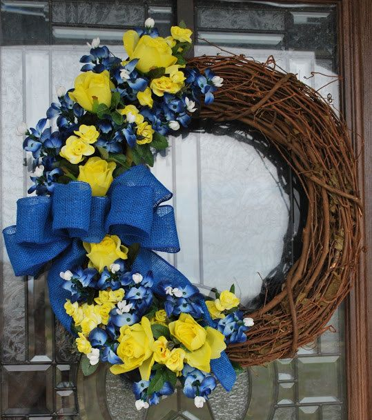 Texas Yellow Rose And Bluebonnet Wreath 18 Grapevine
