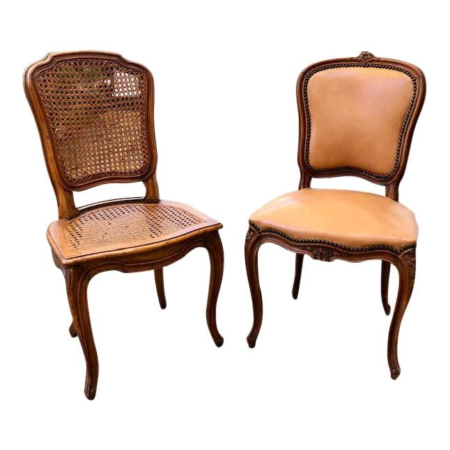 1930s French Louis Xv Leather And Cane Accent Chairs A Pair