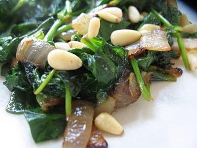 Sauteed spinach, onions, lemon juice, pine nuts