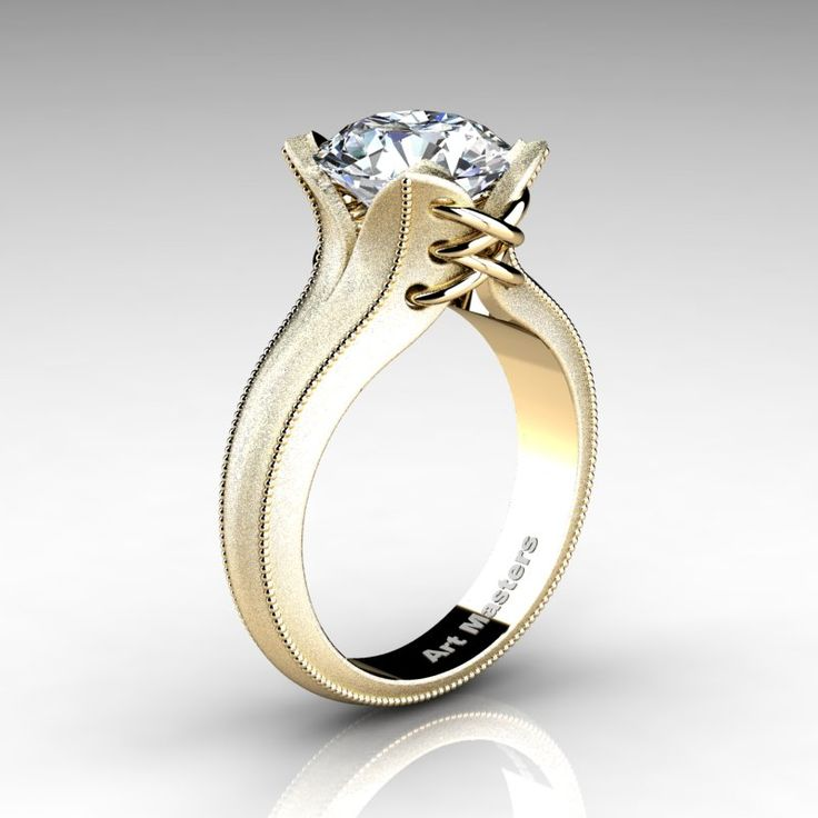 Forever Classic 14K Yellow Gold 3.0 Ct White Sapphire Solitaire Corset Ring R456-14KYGWS | Art Masters Jewelry