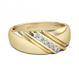 Jeulia Yellow Gold Round Cut Created White Sapphire Men's Wedding Ring