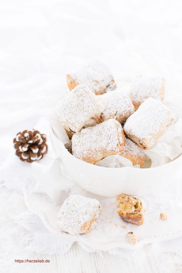 Weihnachten Rezepte: Stollenkonfekt oder Stollenkekse nach einem Rezept von herzelieb. Das ist Fingerfood vom Feinsten! #deutsch #advent #backen