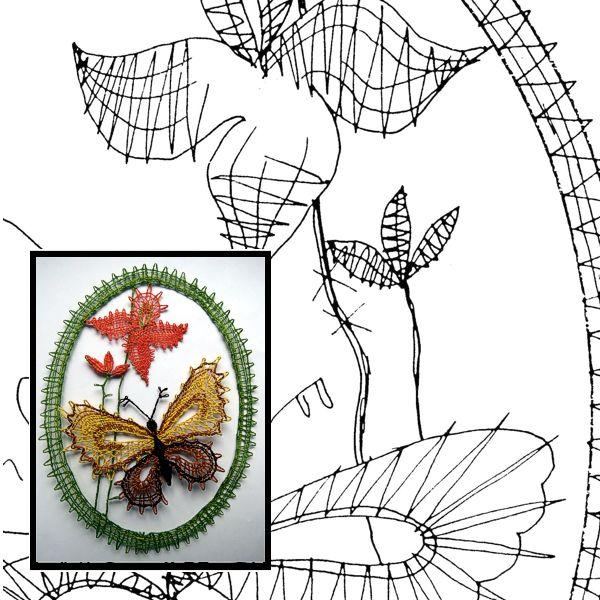 Klöppelbrief Orchidee + Schmetterling