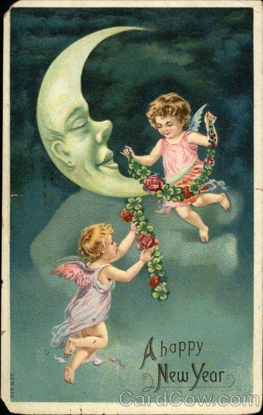 1905 Happy New Year - Moon and Cherubs Angels & Cherubs
