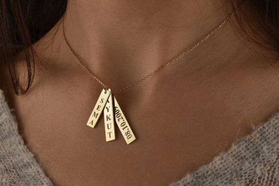 14k Gold Personalized Bar Necklace Vertical Necklace Name Etsy In 2020 Custom Engraved Necklace Personalized Engraved Necklace Custom Bar Necklace