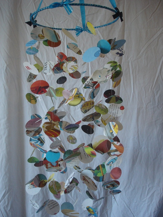 OOAK Paper Mobile Recycled Childrens Books Upcylce