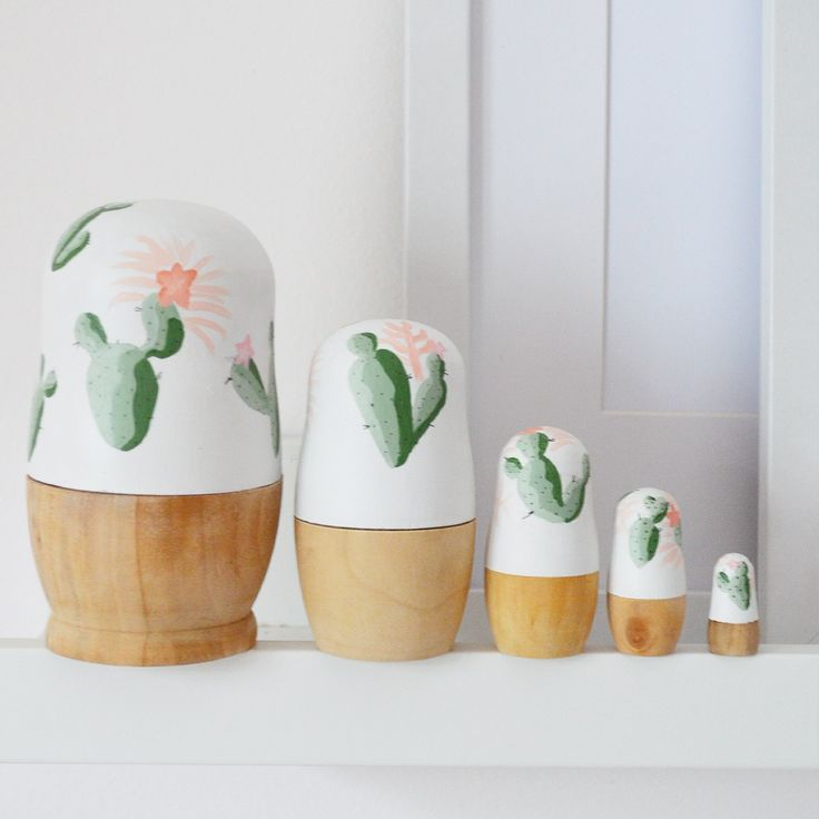 Custom cactus babushka dolls are a perfect decoration for a nursery or any living area