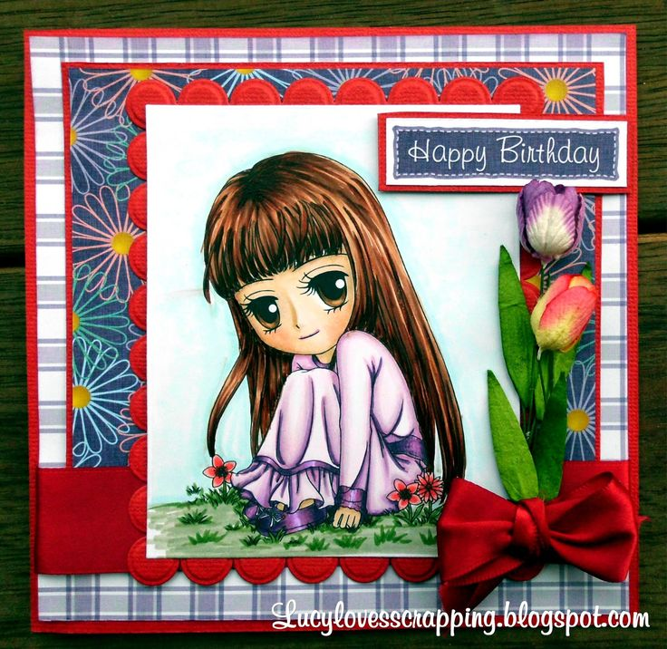 Lucy loves scrapping: Art by Miran image, cute handmade Birthday greeting card