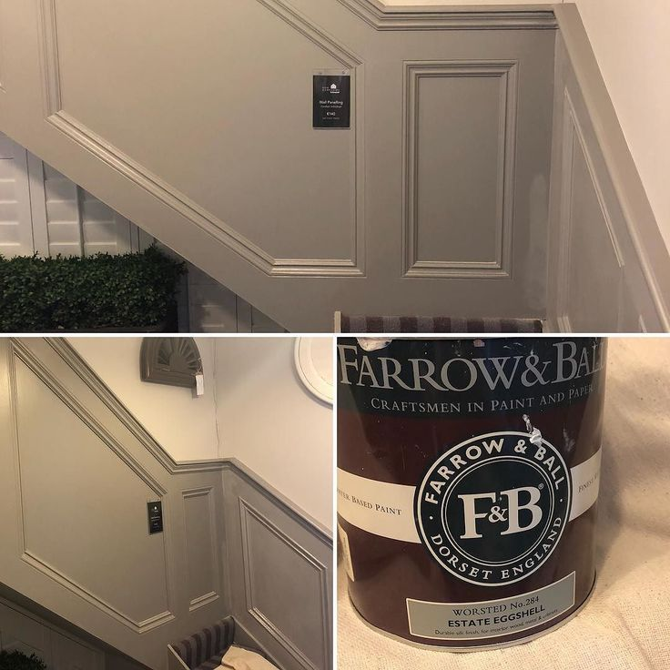 Fishing touches are happening to our showroom wainscoting today. #farrowandball #worsted #recent #wainscoting #wallpanelling #newlook #bespokepanelling Call for a free in-home consultation 018359555