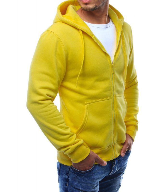 Pánska žltá mikina s kapucňou a zipsom