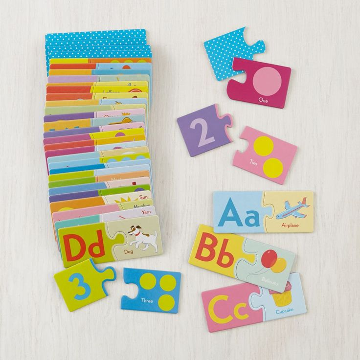 Shop Alphabet & Numbers Puzzle Pairs.  Match letters with words and numbers to dots.  Includes six games parents can play with kids.  A puzzle designed to make reading and math a little less puzzling.