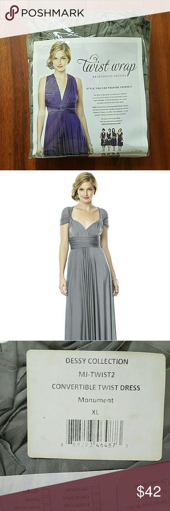 Dessy Collection bridesmaid dress Convertible long length bridesmaid dress in Monument color. Beautiful gray. Never worn! Very popular dress can be worn so many ways, these are all over pinterest and youtube! dessy Collection  Dresses Maxi