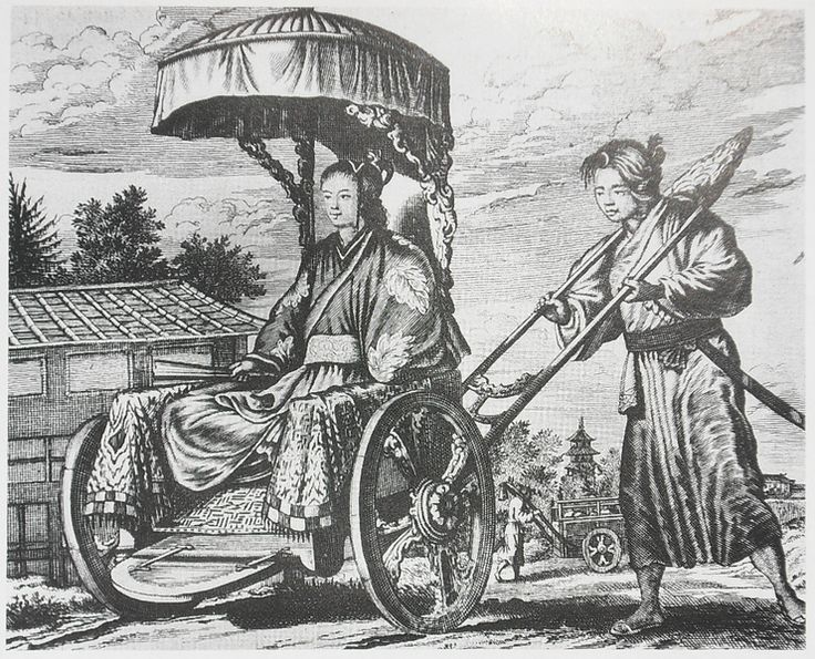 """The rich carriage of Taikōsama (court) lady-in-waiting"""". Lach & van Kleyn express their doubt about the """"authenticity"""" of the scene depicted by the Dutch artist: both the appearance of the carriage itself, and the fact that a Dutchman would even be allowed to look at the court lady and sketch a picture of her."""