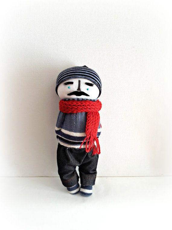 Hipster Rag doll with crochet scarf, handmade doll, eco friendly doll, stuffed doll,customizable doll , art doll, cloth doll, Father's Day by CreoErgoSumHandmade #italiasmartteam #etsy
